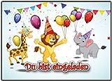 12 Einladungskarten zum Kindergeburtstag wilde-Tiere Geburtstagseinladungen Einladungen Geburtstag Kinder Jungen Mädchen Zoo-Tiere Karten im Set mit Text Löwe Giraffe Elefant Party Luftballons zoo