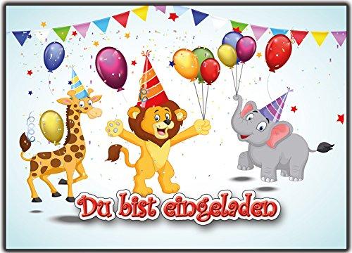 12 Einladungskarten zum Kindergeburtstag wilde-Tiere Geburtstagseinladungen Einladungen Geburtstag Kinder Jungen Mädchen Zoo-Tiere Karten im Set mit Text Löwe Giraffe Elefant Party Luftballons zoo (Weniger Als Jake)