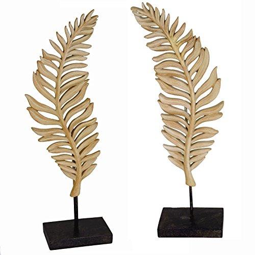 Casablanca Skulptur Leaf Dekofigur 2er Set Blatt Braun Polyresin 42cm mit Sockel Dekoobjekt -