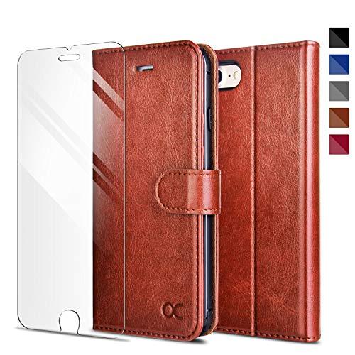 OCASE Kompatibel mit iPhone 8 Handyhülle iPhone 7 Hülle [Premium Leder] [Kartenfach] [ Gratis Panzerglas Schutzfolie ] [Magnetverschluss] Schlanke Leder Brieftasche Case Tasche Bruan