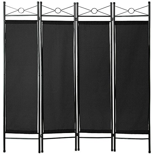*TecTake 4tlg Raumteiler Trennwand Paravent spanische Wand 180x160cm – Diverse Farben und Mengen – (1x Schwarz | Nr. 401662)*