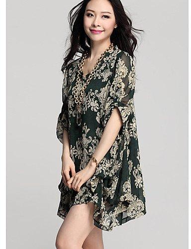 LYQ/ Robe Aux femmes Grandes Tailles Vintage / Décontracté , Imprimé Col en V Au dessus du genou Mousseline de soie green-l