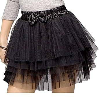 Chinatera Femme Sexy Mini Jupe Casual Multicouche Tutu Cake Skirt Noir à la mode