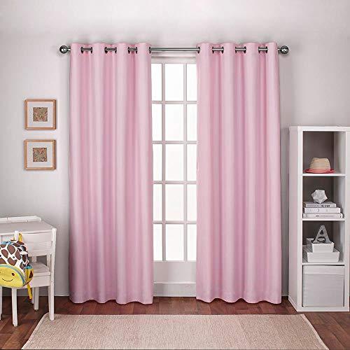 Exklusive Home Fenster-Vorhang Kids strukturiertes Leinen mit Ösen 1 Paar, Polyester, Bubble Gum pink, 54x96