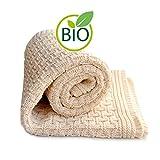SonnenStrick 3009002 Babydecke / Kuscheldecke / Strickdecke aus 100 % Bio Baumwolle kba Made in Germany, 100 x 90 cm, natur - 3