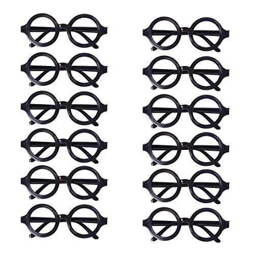 Amosfun 24pcs Brillengestell Round Black Frame Brille No Lenses Kostüm Eyewear Graduation Gift (Black) (Niedliche Nerds Für Halloween)