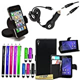 Accessory Master 15 in 1 value Mega pack Noir pu cuir Housse coque pour Sony xperia T3 D5103