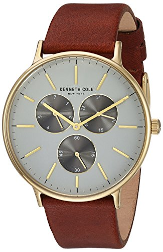 Kenneth Cole Men's KC14946003 Brown Leather Analog Quartz Dress Watch