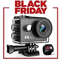 DBPOWER Action Cam, 4K Sports Action Kamera WiFi 2.0 Zoll FHD LCD Display Wasserdicht Helmkamera mit 2 Verbesserten Batterien und Zubehör Kits(Black)