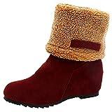 Stiefel Damen Boots Winterschuhe Flock Warme Stiefel Schneeschuhe Kurze Stiefelette Pump Stiefel Freizeitschuhe Winterstiefel Blockabsatz Stiefel ABsoar (EU:36, B Rot)