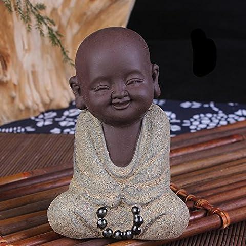 ULLK Lila Sand Mönch Kreative Home Decoration Produkte, Keramik Handwerk Auto Ornamente, Kleine Geschenke, Tee Toys, Puppe (2)