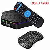 EMSMIL Smart TV BOX Android 7.1 Octa Core Amlogic S912 T95Z Plus 3GB DDR3 RAM 32GB Flash Streaming Media Player Unterstützt 2.4G 5G Dual WIFI Bluetooth 4.0 LAN HDMI 4K 3D mit Kabellos Tastatur