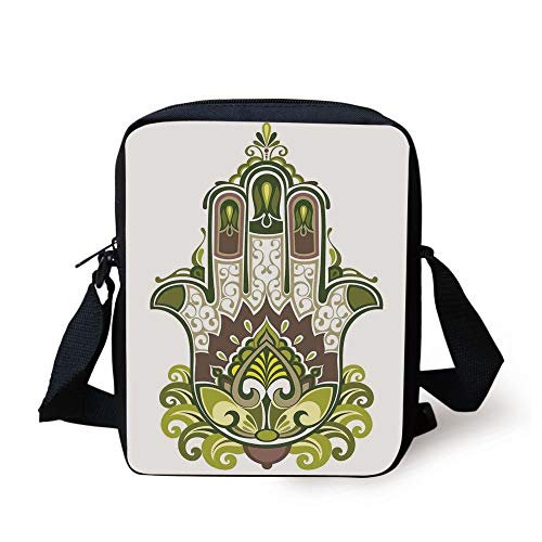 Hamsa,Natural Elements Inspired Hamsa Hand with Branch and Leaf Nature Zen Harmony,Green White Brown Print Kids Crossbody Messenger Bag Purse