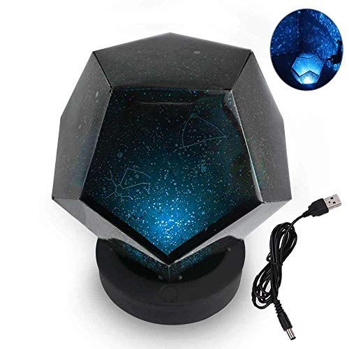 Sterne Lampe Projektor 60.000 Sterne Original Home Planetarium Caronan Weihnachten, USB wiederaufladbare Dodekaeder DIY Wissenschaft Kosmos romantische Projektor Nachtlicht (Blau)