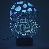 3D Optische Täuschung Nachtlicht Touch LED Tisch Schreibtischlampe 7 Farbwechsel USB Ladegerät Powered Touch Schalter Schreibtisch Nachtlicht für Kinder Freunde Geschenk(Pilz-Haus)