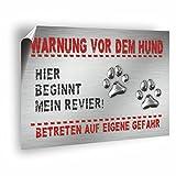 Warnung vor dem Hund! Aufkleber 30 x 20 cm, PVC Folie für den langfristigen Außeneinsatz, UV beständig und wetterfest - wieder entfernbar!