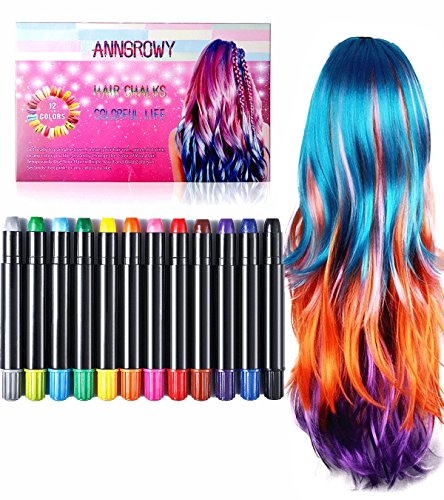 Hair Chalk for Kids Girls Temporary Hair Chalks Colour Set Prime Hair Chalk Pens Perfect Birthday Present Gifts for Girls, Boys, Women and Men Washable Instant Hair Dye for Blonde Brown Auburn and Dark Hair Color Treatment