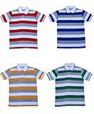 IndiWeaves Boys Half Sleeves Cotton Polo T-Shirts(Pack of 4)_Red::Blue::Yellow::Green_L