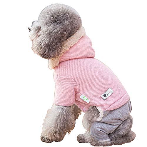 (GJFeng Hund Mit Kapuze Vierbeinigen Baumwollmantel Kleiner Hund Als Bär Winter Verdicken Herbst Und Winter Tragen Haustier Kleidung Herbst Teddy (Farbe : Pink, größe : L(4-5kg)))