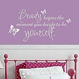 Beauty beginnt der Moment Sie entscheiden selbst zu sein Coco Chanel Zitat Girl 's Room Wandaufkleber, Vinyl, weiß, 31