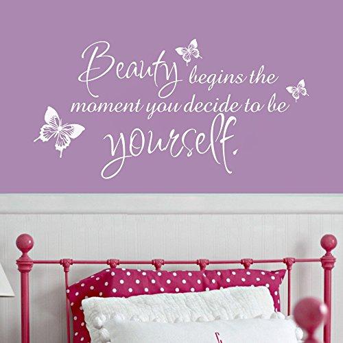 """Beauty beginnt der Moment Sie entscheiden selbst zu sein Coco Chanel Zitat Girl 's Room Wandaufkleber, Vinyl, schwarz, 31""""hx58""""w"""