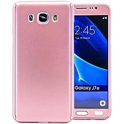 COOVY® Funda para Samsung Galaxy J7 SM-J710 / SM-J710FN / SM-J710F/DS (Model 2016) 360 Grados, Carcasa Ultrafina y Ligera, con Protector de Pantalla, protección de Cuerpo Completo | Color Oro Rosa