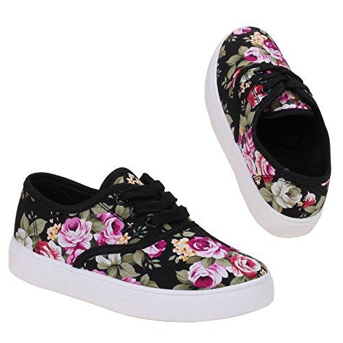 Mädchen Schuhe, K-23-1, HALBSCHUHE Schwarz Multi M