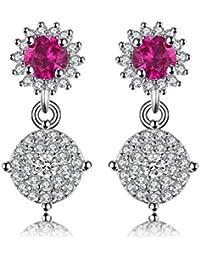 JewelryPalace Moda Mujer 0.7ct Red Creado Rojo Ruby 925 Pendientes De Plata De Ley Pendiente