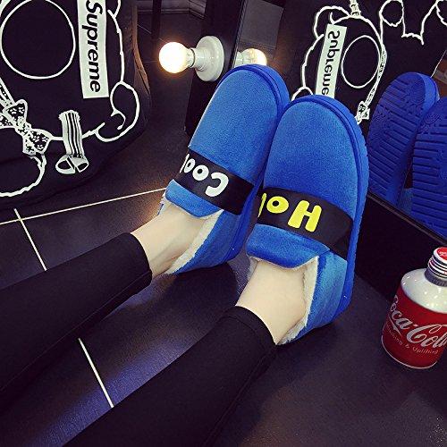 Fankou inverno caldo paio di uomini e donne cartoon borsa con più spesso al fine di graziosi interni scivolose home pantofole di cotone 5-41 sky blue