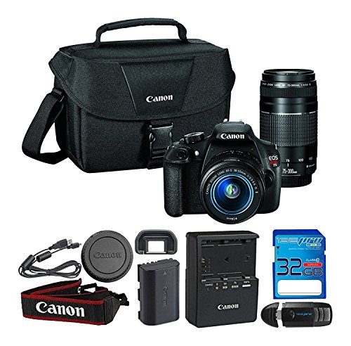 32GB : Canon EOS Rebel T5 Digital SLR Camera with EF-S 18-55mm IS II + EF 75-300mm f/4-5.6 III Bundle Includes I3ePro 32GB SDHC Memory Card & I3ePro USB 2.0 Card Reader
