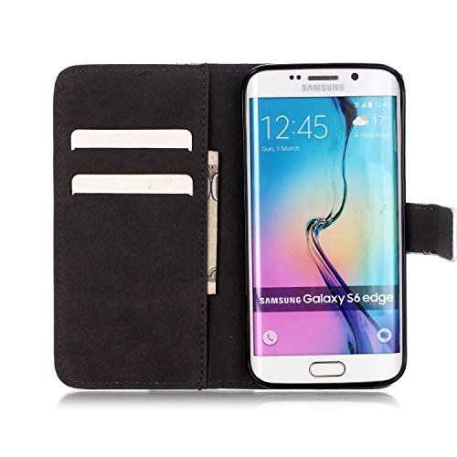 Coque Etui pour Galaxy S6, Galaxy S6 Coque Painted Relief Portefeuille PU Cuir Etui, Galaxy S6 Coque de Protection en Cuir Folio Housse, Galaxy S6 Leather Case Wallet Flip Cover Protector, Ukayfe Etui black Flower