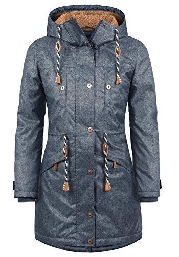 BLEND SHE Dale Damen Parka lange Jacke Winter-Mantel mit Kapuze und Teddy-Futter aus hochwertiger Materialqualität, Größe:L, Farbe:Navy (70230) (Mäntel-jacken Rabatt)