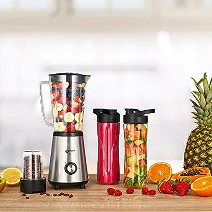 Balter-Standmixer-MX-2-VITA-Smoothie-Maker–1L-Behlter–2x-600ml-Trinkflaschen-inkl-Multizerkleiner–splmaschinenfest–350W–Farbe-Edelstahl