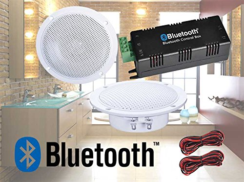 Digitalis Audio Bluetooth Ceiling Speaker Kit Bluetooth Amplifier Water Resistant Ceiling Speakers Perfect for Kitchen or Bathroom (2 Speaker Set)