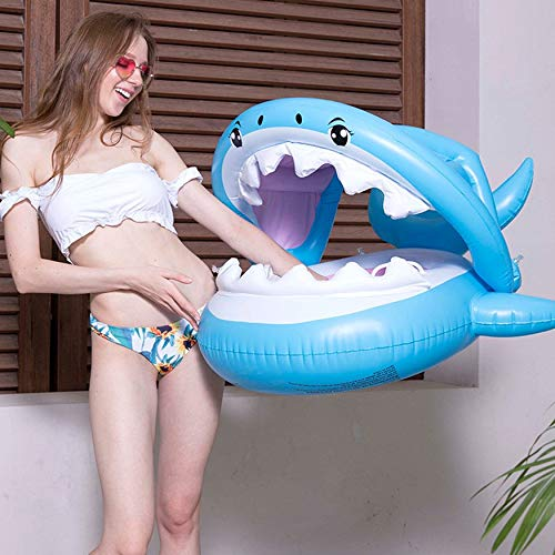 loat Swimming Float with Canopy Inflatable Floatie Swim Ring Blue ()