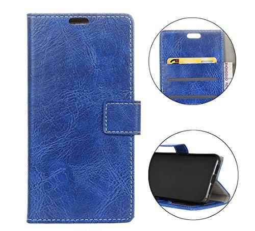 Sunrive Hülle Für Wiko Tommy 3, Magnetisch Schaltfläche Ledertasche Schutzhülle Case Handyhülle Schalen Handy Tasche Lederhülle(Crazy-Pferd blau)+Gratis Universal Eingabestift