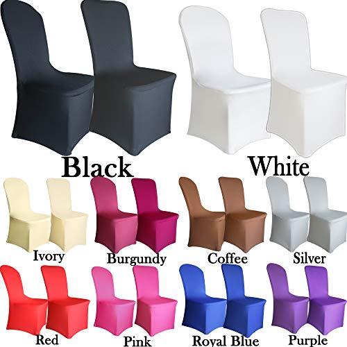 Tts 10pcs (bianco- piatto) coprisedia elasticizzato fodere copertura della sedia spandex fodera copertura protezione decorazione rivestimento banchetti-