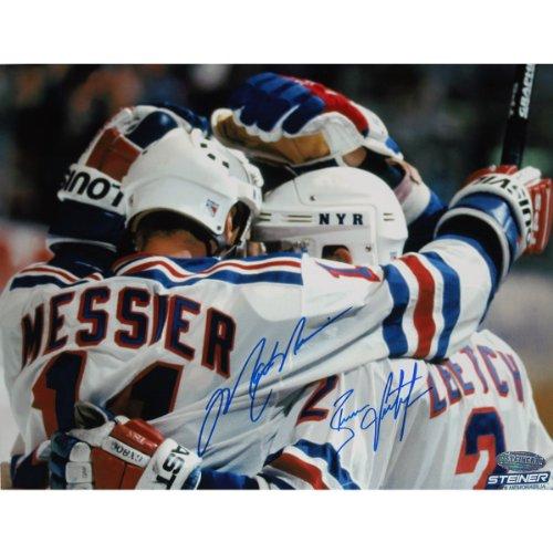 New York Rangers 1994 Den Stanley Cup (Steiner Sports NHL New York Rangers Brian LEETCH/Mark Messier-Dual Team Huddle unterzeichnet Foto)