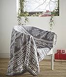 Fleece-Decke, Alpines Design, grau, Nordisches Weihnachten, Schneeflocke, als Überwurf, 120cm x 150cm