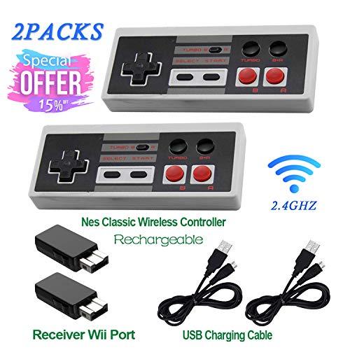 NES Classic Mini Wireless Controller, wiederaufladbar, Turbo-Edition, mit Rapid Buttons Edition für Nes Wii Gaming System mit 2,4 G Wireless Empfänger, 2 Stück - Zwei Mit Wii Controllern