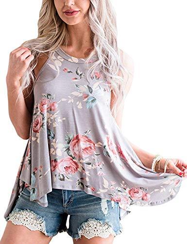 Top Damen Sommer Blumen Ärmelloses Shirt Locker Oberteile Bluse Tunika Tank Top - Tank-top Tunika Bluse