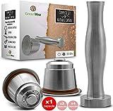 Greenvea - Kit complet de capsule à café Nespresso rechargeable et réutilisable. Capsule réutilisable café & thé en acier inox eco-friendly. (1 Capsule, Tamper, Guide, Doseur) -Idée Cadeau-