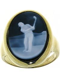 Derby Ring Gemme Achat Golfspieler 18 x 13 mm Kamee 14 Karat (585) Gelbgold