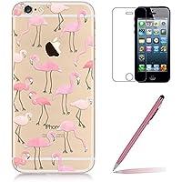 Custodia iPhone SE/5/5s [Pellicola Protettiva in Vetro Temperato], Yoowei® Design Colorato Cristallo Trasparente Ultra Sottile (Bianco Soffione Kit)