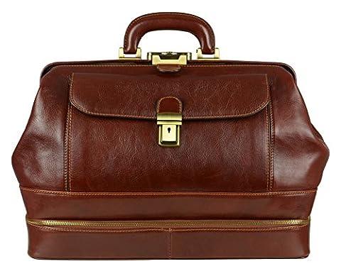 Time Resistance Sac médical en cuir, sac de docteur en cuir, sac cartable en style vintage marron