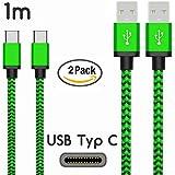 Original COVERLOUNGE - Nylon USB Typ C Kabel [2-Pack] / Datenkabel / Ladekabel [2.1 A] für alle Samsung Smartphones mit USB Typ C Anschluss | Farbe: grün | Länge: 1 Meter / 1m