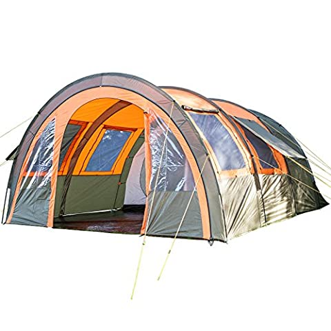 skandika Kemi 4 Person Men Group & Family Tunnel Tent with Movable Front Wall & 2 Sleeping Pods - water resistant material with 3000 mm water column & a handy repair