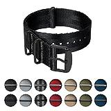 Archer Watch Straps | Cinturini NATO in nylon di altissima qualità stile cintura di sicurezza | Cinturini di ricambio resistenti tipo militare | Nero/Metallo nero, 20mm