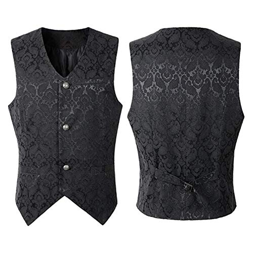 Reveryml para Hombre de la Vendimia Chaleco Damasco Negro Velvet Goth Steampunk Chaleco Otoño Hombres Slim Fit Chaleco de Un Solo Pecho Camisas