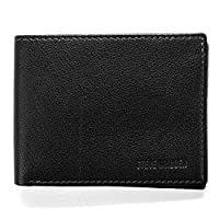 steve madden Men's Leather RFID Wallet Extra Capacity Attached Flip Pocket, Black (Smooth Grain), One size